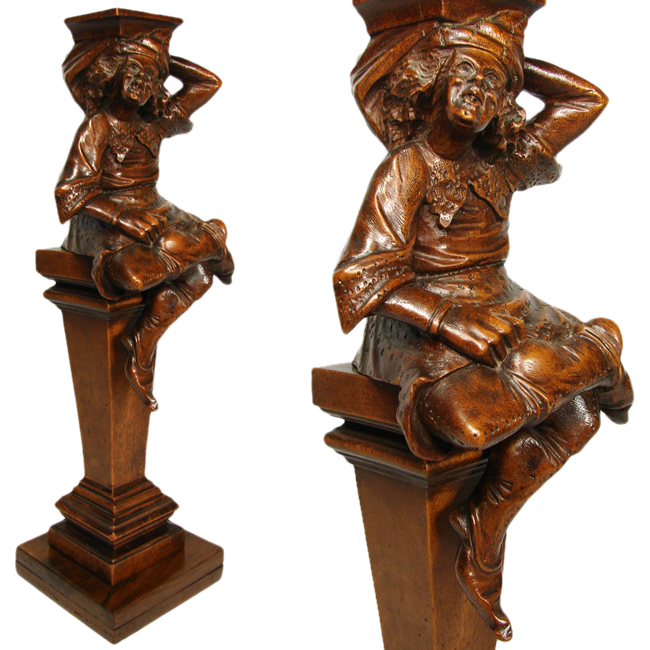 Antique Hand Carved Figural Support, Architectural Salvage from 19th C. Furniture or Bar