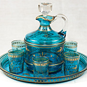 Antique French Liqueur Service, Baccarat Crystal Decanter & Tray and 6 Shot Cups, Glasses in Electric Blue & Raised Gold