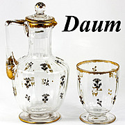 Fine 19th Century French Carafon and Tumblar, Daum Crystal, Raised Gold Enamel Decanter and Glass