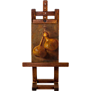 RARE Antique Hand Painted Miniature Painting of Gourds, on Doll House Size Easel, Furniture