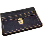 """Antique French 17"""" x 12"""" Document or Art Folder, Briefcase, Fine Gold Embossed Leather"""