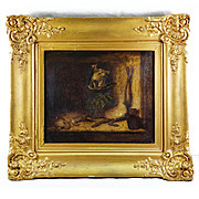 Antique Still Life Oil Painting in French Frame, Fruits of the Hunt Theme, Hare, Hens, Lettuce