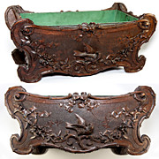 Antique Hand Carved Black Forest Jardiniere with Tin Liner Intact, Birds - Fabulous Centerpiece!