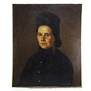 Antique Oil Painting, Portrait of a Lady, Signed by Artist J Hoffman, 1872, no Frame