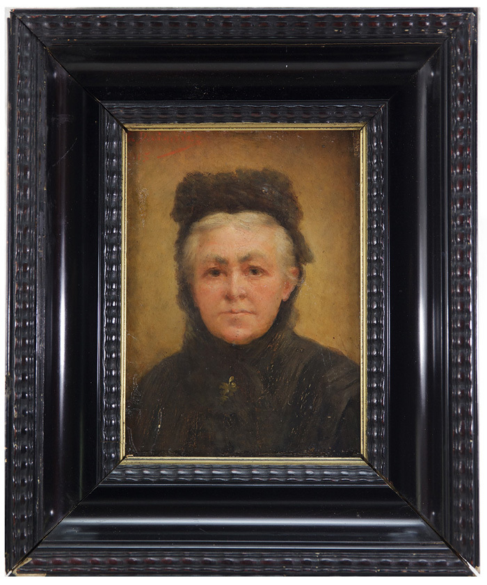 Antique Early 19th c. French Oil Painting, Portrait of a Lady in Black, Elegant Original Louis Philippe Frame