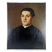 Antique Oil Painting, Portrait of a Young Man, Signed by Artist J Hoffman, 1872, no Frame