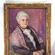 "Antique Oil Painting, Impressionist Portrait of a Charming Matron, Elegant French Art Nouveau Frame, 33"" x 26.5"""