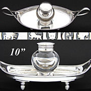 "Antique English Sterling Silver 10"" Desk Top Inkwell, Ink Stand, Thick Glass Well"