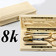 Superb Antique French c. 1818 18k Solid Gold Sewing or Embroidery Tools Set, Scissors, Thimble, Needle Case, Etc