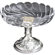 "Elegant Antique French Sterling Silver & Cut Glass Raised Serving Dish or Compote, 6"" Diameter"