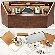 RARE Antique French Sterling Silver Fitted Automobile Vanity Caddy , Wood - Fitted by G Keller, PARIS