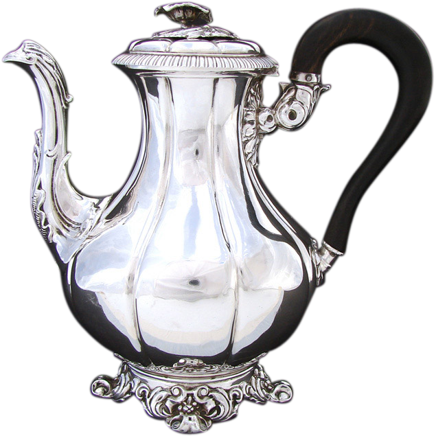 Antique Louis Philippe Era French Sterling Silver Solitaire Sized Coffee or Tea Pot
