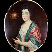 Antique French Oil Painting, Portrait of Comtesse Du Chastel de la Howardries, Crest.