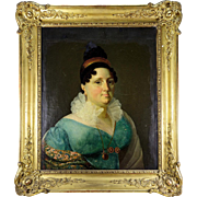"""RARE Antique Museum Quality French Portrait, c. 1820, in Elaborate 30"""" x 26"""" Frame, ID'd"""