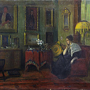 IMPORTANT: Oil Painting, 1900-07 Interior by American Impressionist, Frederick VEZIN, (1858-1933)