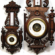 "Antique Victorian Era Black Forest Style Carved 26"" Wall Barometer & Thermometer"