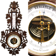 "Antique Victorian Era Black Forest Style Carved 21"" Wall Barometer & Thermometer"