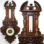 """Antique Victorian Era Carved Wood 29"""" Wall Barometer, Winged GriffinFigures"""