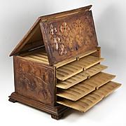 Antique 19th c. Black Forest Hand Carved Wood Cigar Server, Not Humidor, 5 Shelves