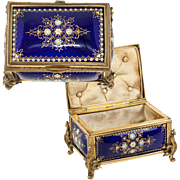 Antique French Kiln-Fired Enamel Jewelry Box, Casket, Cobalt Blue with Jewel Dots, Sevres, Tahan