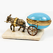 "Antique French Opaline ""Egg"" Trinket, Thimble or Open Salt, Donkey Cart, Carriage, Palais Royal"