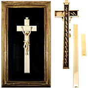 RARE Antique 1700s French Reliquary, Crucifix, Christ Corpus, 17 Relics Gold Frame
