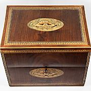Antique English Georgian Era Marquetry Tantalus Box, Chest, Lock & Key, Tunbridge?