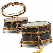 Superb Antique French Faux Tortoise Shell & Ormolu Jewelry Box, Casket c. 1830