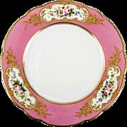 Fine Antique Limoges Plate, Pink & Floral, Raised Gold Enamel Encrusted, Havilland