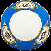 Antique French Limoges Cabinet Plate, Raised Gold Enamel Encrusted, Havilland, 1800s