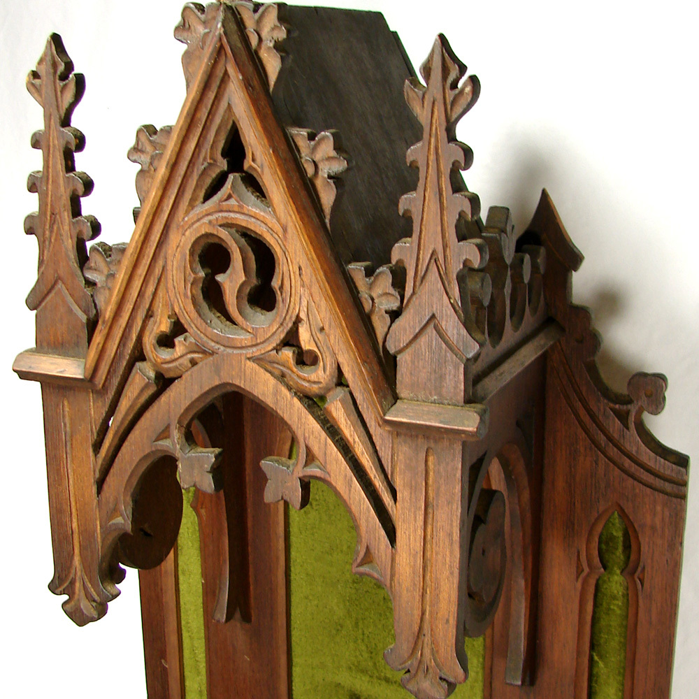 Rare antique gothic style carved wood quot religious niche