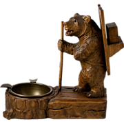 Antique Hand Carved Black Forest Bear Smoker's Match Stand