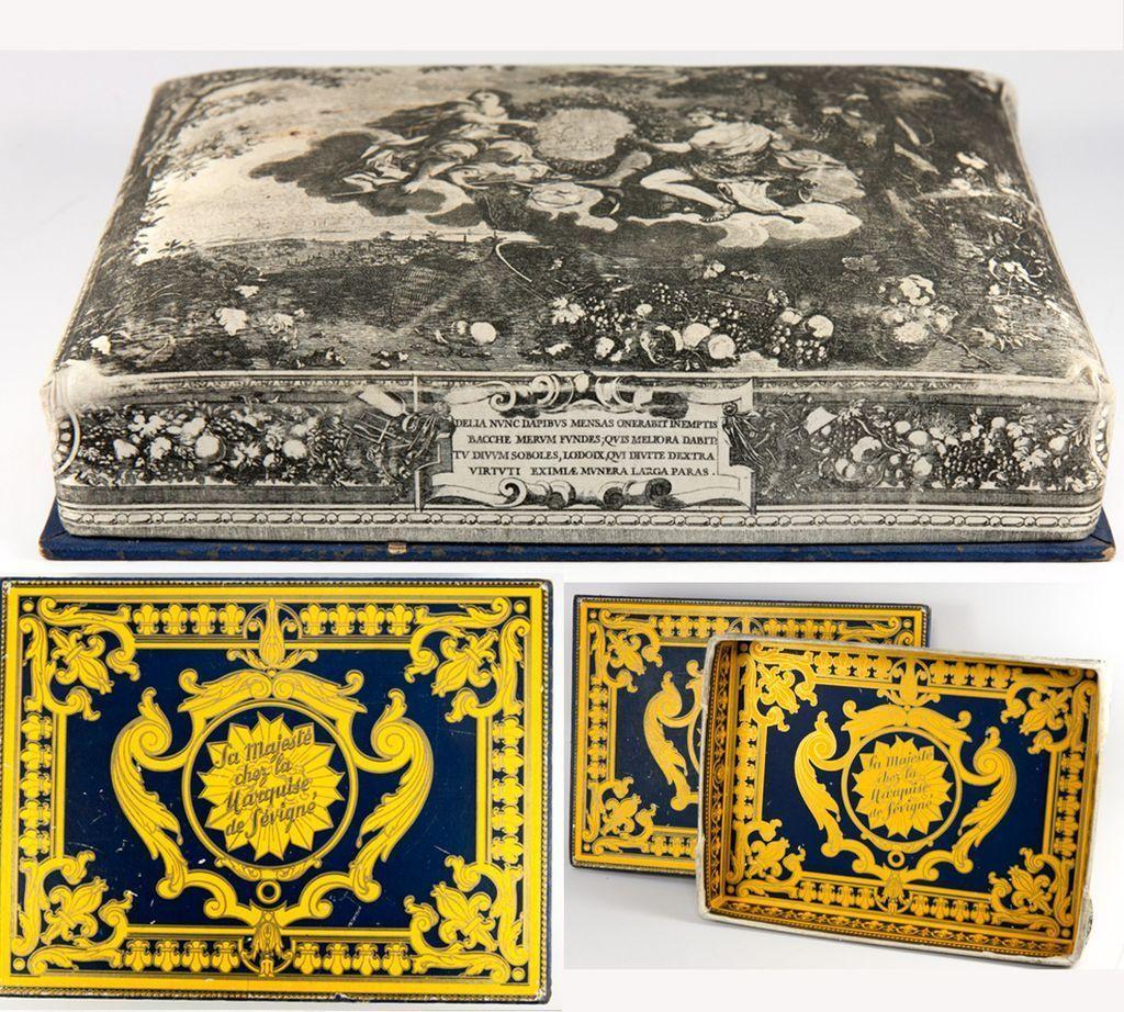 Antique French Silk Chocolate Box, Confectioner's, Chocolatier's Box, Marquise deSevigny