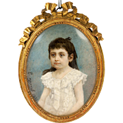 Artist Signed Antique French Portrait Miniature of a Young Girl, Impressionist and in Wood Frame, 1881