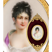 Antique French Empire Portrait Miniature in Ornate Frame, Mme Juliette Récamier, after Gerard