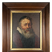 Antique French Oil Painting, Portrait of a Jewish Rabbi, Frame