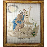 RARE c.1819 Napoleonic Silk on Silk Embroidery Sampler #4 in Frame, Saint Joseph & Jesus