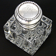 Antique Gorham Sterling Silver & Cut Crystal Inkwell, Facet Cut Base