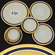 RARE 67pc Vintage 1930 MINTON Dinnerware Set, 48 Plates w/ Cream Soup & Saucers in Cobalt Blue & Gold Borders