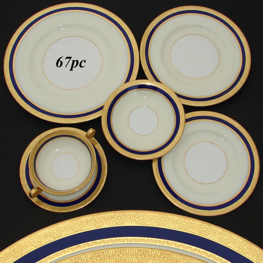 RARE 67pc Vintage 1930 MINTON Dinnerware Set, 48 Plates w/ Cream Soup & Saucers in Cobalt Blue & Gold Borders