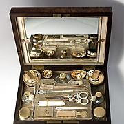 RARE Antique French Napoleon Era Vanity Chest, 18k Palais Royal Tools, Sterling Silver Vermeil, 21 Pc Necessaire