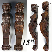 "Antique Pair of Carved Wood Caryatid Figures, 15"" Tall, Cabinet Panels, Architectural Salvage"