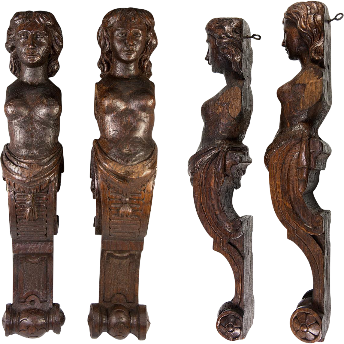 Antique Pair Of Carved Wood Caryatid Figures 15 Quot Tall