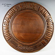 """Antique French Carved Wood Bread Board #2, """"Give Us This Day Our Daily Bread"""" in French"""