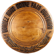 "Vintage French Carved Wood Bread Board, ""Give Us This Day Our Daily Bread"" in French"