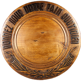 "SALE Vintage French Carved Wood Bread Board, ""Give Us This Day Our Daily Bread"" in French"