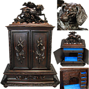 "LG Antique Black Forest Carved 20"" Jewelry Cabinet, Chest: 12 Drawer & Hunting Dog Figural Top"