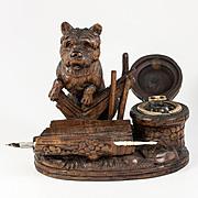 Antique Hand Carved Black Forest Dog Ink Well, Desk Stand - Glass Eyes, Superb!