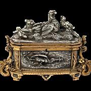 Antique Bronze, Silver Plate Animalier Jewelry Box, Casket, Jules Moigniez, Scuptor (1835 – 1894)