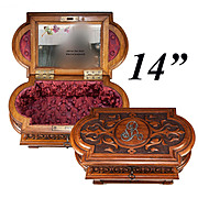 """Large 14.75"""" Antique French Hand Carved Jewelry Chest, Box, with Hidden Drawer"""